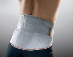 Lumbar orthosis for stabilisation with proprioceptive pad and tightening straps Vertebradyn Activ Sporlastic