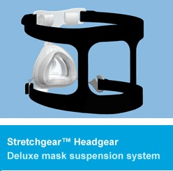A comfortable and breathable elastic headgear, specially designed to maintain a firm seal.
