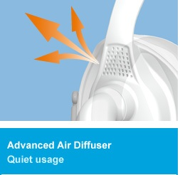 The maintenance - free Air Diffuser disperses the air-flow away from the sleeper`s partner and minimizes exhaust flow noise.
