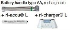 Riester ri-integral Macintosh F.O. baby, battery handle type AA, rechargeable LED 3,5V/230V; + ri-accu® L, + ri-charger® L